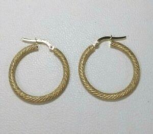Genuine 9ct Hallmarked gold Medium Rope Twist Hoop  Earrings Real Gold