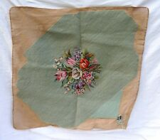 French Hand Made Wool Needlepoint Tapestry Chair Pillow Cover Bouquet Flower