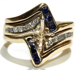 14k yellow gold .21ct SI semi-mount diamond engagement sapphire womens ring 9.9g