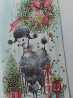UNUSED Vtg POODLE at Door PINK Wreath SILVERED Glitter CHRISTMAS GREETING CARD