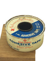 "Vintage Antique Tin JOHNSON & JOHNSON RED CROSS 1"" Adhesive Tape Tin / empty"