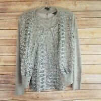Ann Taylor Womens Size MP Sweater Twin Set Tank Top Wool Cardigan Sequined