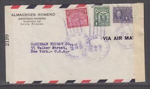 PANAMA, 1942 Airmail twice Censored cover, David to USA, 1c.(2), 7c.