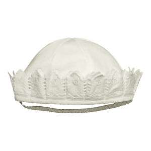 Victorian Organics Baby Sailor Hat White Cotton Lace Christening Shower Gift