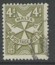 MALTA SGD17 1925 4d OLIVE-GREEN POSTAGE DUE USED