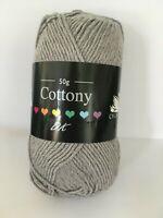 SILVER CYGNET COTTONY DK Wool 50g Double Knit Knitting Cotton Crochet Yarn Grey