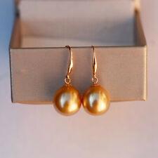 11.2x12mm Gold Australia seawater cultured pearl 18K Gold earrings 27mm KG125