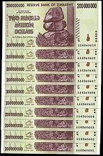 Zimbabwe 200 Million Dollars 2008 P 81 UNC LOT X 10 PCS BEST PRICE EBAY !