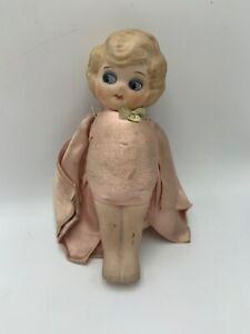 Antique Kewpie Doll  Side Glance Bisque Flapper Pink Satin No Arms