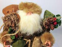 "Santa Claus Folk Art Figure Style Brown Fur-lined Outfit Sack Walking Stick 10"""