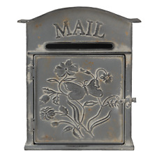 Taupe Metal Post Letter Box - Distressed Grey Taupe French Style