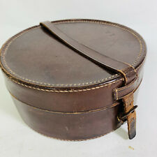 Edwardian Leather Collar Box Embossed Owners Initials E R Oughton Brown