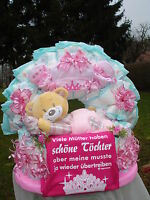 """Windeltorte""""Teddy und Baby-Body""""Schöne Töchter""""rosa, Geburt,Taufe,"""