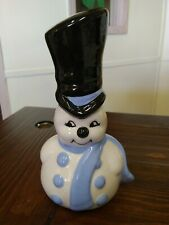 Vintage Ceramic Hand Painted Christmas Snowman Top Hat blue Scarf