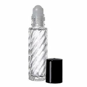 10 ml Roll on Swirl Glass Bottle With Housing Ball and White Caps, Qty: 144 Pcs