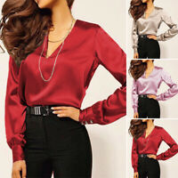 ZANZEA Women Long Sleeve V Neck Silk Satin Blouse Shirts Formal Work Elegant Top