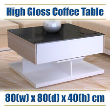 Modern Coffee Table Cabinet Unit Furniture - Timber White, Black Glass, Drawers