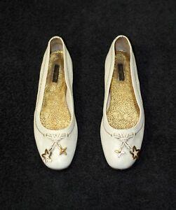 800$ LOUIS VUITTON LV white leather square toe shoes ballet flats 40.5-41 us9.5