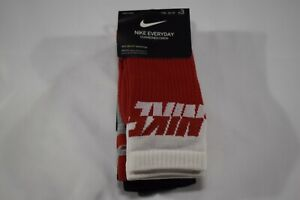 NIKE Everyday Cushioned Crew Socks 3 PACK - Size Medium 5Y-7Y RED/GREY/BLACK