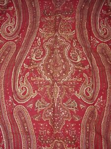 Ralph Lauren Queen Sized Comforter And Shams Reversible Paisley/stripes Red Gold