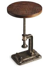 Restoration Wood Industrial Hardware Crank Adjustable Rustic Side End Table New