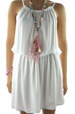 ITALY Sommer Kleid IBIZA Party Strandkleid Pailletten Weiß 36 38 40 Neu