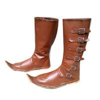 56085ec21175fc Medieval Leather Boots, Renaissance Pirate Shoes Re-enactment Men Long Boots