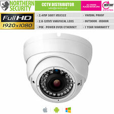 Sony IMX 2mp 2.8-12mm 1080p p2p 30m ONVIF IR Audio POE Dome Telecamera di Sicurezza IP