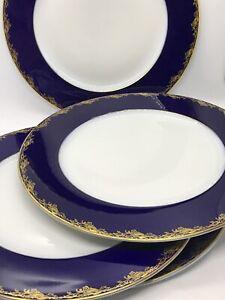 "FAB! Rosenthal Frederick the Great Cobalt & Gold Design 4PC Dinner Plates 10"" D"