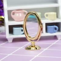 1/12 Golden Modern Oval Framed Mirror for Dollhouse Miniature Accessories Dlxq
