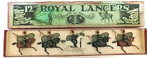 Pre-War BRITAINS 1930s Lead, The 12th Royal Lancers, 5 Piece Boxed Set #128