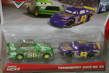 """DISNEY PIXAR CARS """"2-PACK CHICK HICKS/TRANSBERRY JUICE"""" NEW IN PACKAGE, SHIP WW"""