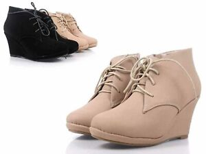 """Taupe Color Adjustable Lace Up Women 3.25"""" Wedge High Heel Ankle Boots Size 6.5"""