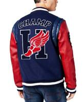 NEW HUDSON BLUE RED WINGFOOT CHAMPION FAUX WOOL/LEATHER VARSITY JACKET SIZE M