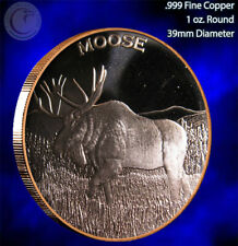 """Moose"" 1 oz .999 Copper Round Part of the Wildlife Series"