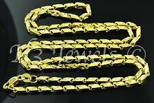 18k solid yellow gold slanted box diamond cut chain necklace 18 inches #1174