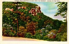 Vintage Color Linen Postcard - Chimney Rock Mountain Leading to the Rock - N..C.