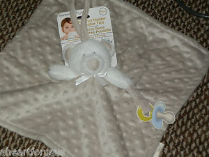 BLANKET BEYOND SECURITY BEIGE BEAR WHITE HEAD PACI & STROLLER TIE EMBOSSED DOT