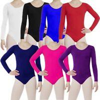 New Girls Kids Uniform Long Sleeves Leotards Dance Gymnastics School PE Ballet