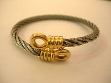 18K GOLD STAINLESS STEEL FRED FORCE 10 FRENCH PARIS CABLE BRACELET BANGLE