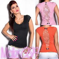 Maglia Donna Top Sexy Pizzo Strass maglietta camicetta t-shirt Moda estate