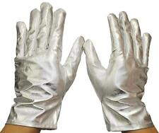 ADULT METALLIC SILVER GLOVES COSTUME ACCESSORY SIZE SMALL BA07SVSM