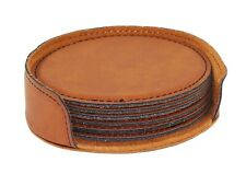 Rich Tan Round Leather Coasters - 6 Pc Pack - Party Bartendering Tabletop Favors