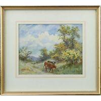 Original Antique Signed Framed Cattle Landscape Watercolour Painting 30 X 36 cm