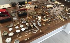 Vintage Huge Watch Makers Antique Collection Of Tools Watches & Parts LOT