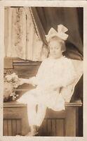 RPPC Postcard Little Girl White Dress + White Bow c. 1900s