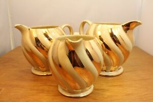 TRIO – Vintage Sadler Gold Jug/Creamers – Gold Curve Stripes – Made in England