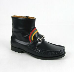 Gucci Kids Dark Blue Leather Oxford Silver Horsebit Boot 32/US 1.5 526133 4068