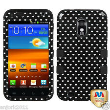Samsung Galaxy S2 4G Sprint Boost T Armor Hybrid Case Skin Cover Black Heart Dot