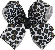Personalized Embroidered Snow Leopard Boutique Grosgrain Hair Girl Bow